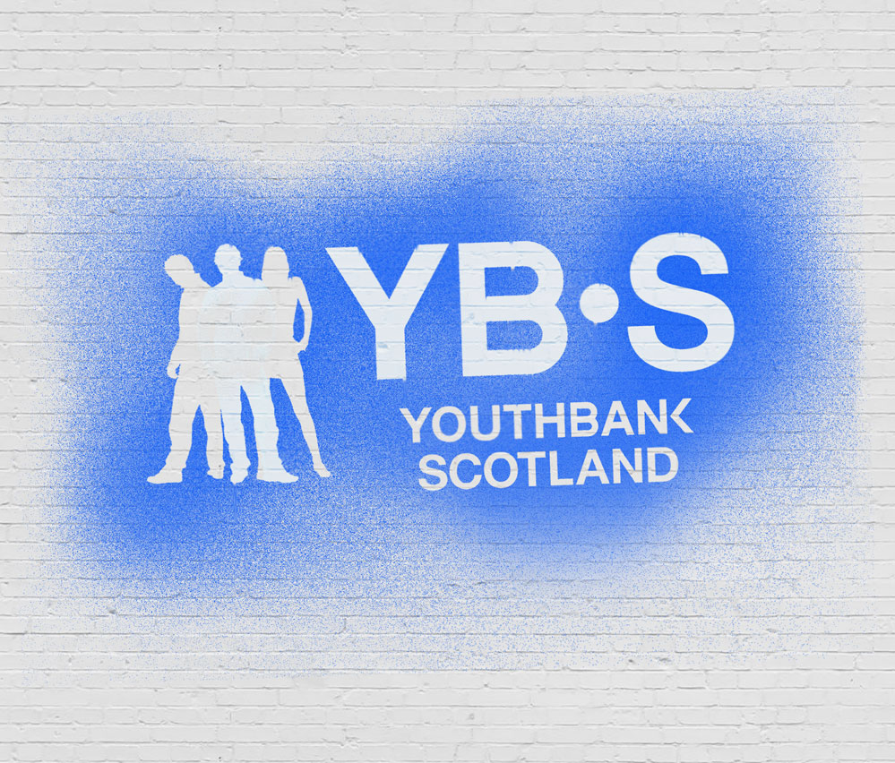 YouthBank Scotland Brand on wall stencil effect